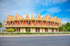 Chaktomuk konferens Hall, Phnom Penh, Cambodja Arkivbild