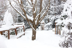 Chalé e cabine do esqui do inverno na montanha da neve Foto de Stock