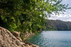 Chala Lake on the border of Kenya and Tanzania, Africa. Royalty Free Stock Image