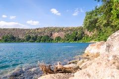 Chala Lake on the border of Kenya and Tanzania, Africa. Royalty Free Stock Photo