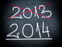 2014 on chalboard Royalty Free Stock Image