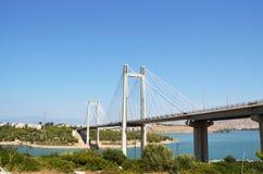 Chalciss bro i Evia, Grekland arkivfoton