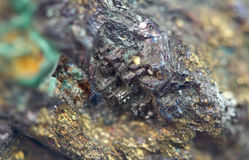 Chalcocite, copper(I) sulfide (Cu2S), is an important copper ore. Mineral. It is opaque and dark-gray to black with a metallic. It is a sulfide with an Royalty Free Stock Photos