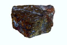 Chalcopyrite. Beautiful mineral stone on a white background Stock Photo