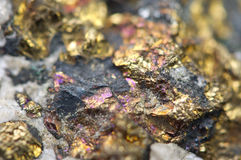 Chalcopyrite Copper iron sulfide mineral Macro. Royalty Free Stock Images