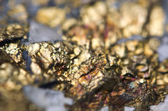 Chalcopyrite Copper iron sulfide mineral Macro. Royalty Free Stock Photo