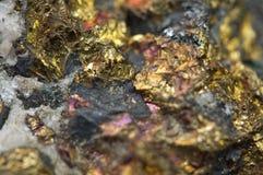 Chalcopyrite Copper iron sulfide mineral Macro. Stock Image