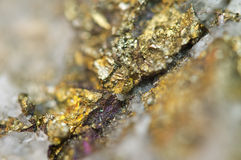 Chalcopyrite Copper iron sulfide mineral Macro. Royalty Free Stock Image