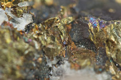 Chalcopyrite Copper iron sulfide mineral Macro. Stock Photography