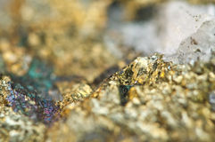 Chalcopyrite Copper iron sulfide mineral Macro. Stock Photos