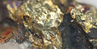 Chalcopyrite Copper iron sulfide mineral Macro. Royalty Free Stock Photos
