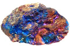Chalcopyrite mineral  isolated on the white background Royalty Free Stock Photo