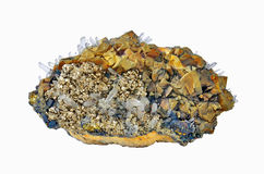 Chalcopyrite, pyrite. And calcite white rock crystal Stock Photos