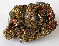 Chalcopyrite and Siderite crystals Stock Photo