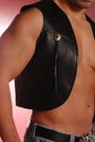 Chaleco de cuero negro del vaquero imagen de archivo libre de regalías