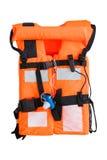 Chaleco salvavidas usado en industria costera del petróleo y gas fotografía de archivo libre de regalías