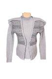 Chaleco y suéter calientes con estilo en un blanco Foto de archivo libre de regalías