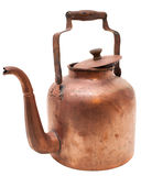 Chaleira de cobre antiga isolada no branco Fotos de Stock Royalty Free