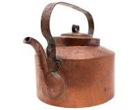 Chaleira de cobre antiga isolada no branco Fotos de Stock