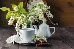 Chaleira e copos com flores da mola Foto de Stock Royalty Free
