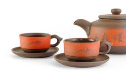 Chaleira e copos para o chá Imagens de Stock Royalty Free