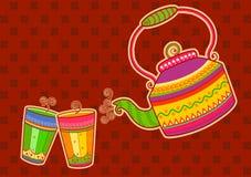 Chaleira e vidro de chá no estilo indiano da arte Imagens de Stock Royalty Free