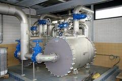 Chaleira refrigerando na estação de tratamento de água waste Imagens de Stock