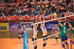 Chaleng dos jogadores de voleibol das mulheres Fotos de Stock