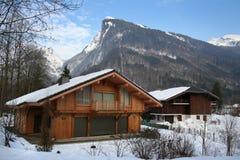 Chalet alpino di inverno Fotografia Stock