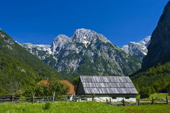 Chalet alpino tipico sotto la montagna Fotografie Stock Libere da Diritti