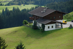 Chalet in Alps. Top view with chalet in the mountain royalty free stock photo