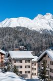 Chalet in the Alps. Mountain ski resort with snow Royalty Free Stock Images