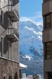 Chalet in the Alps. Mountain ski resort with snow Royalty Free Stock Photography