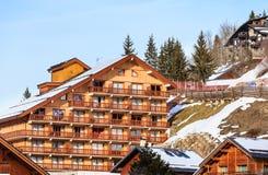 Chalet auf den Steigungen des Tales Meribel Ski Resort Meribel stockfoto