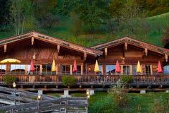 Chalet in autumn Alps in Austria. Chalet in autumn Alps mountains in Austria Stock Photo