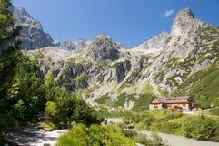 Chalet bij Zelene-pleso, Hoge Tatras, Slowakije royalty-vrije stock afbeelding