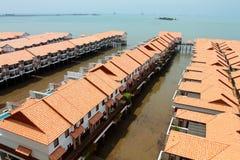 Chalet boven overzees bij Haven Dickson, Maleisië stock afbeeldingen