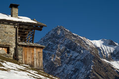 Chalet building in Alps Royalty Free Stock Images
