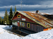 Chalet in Carpathian mountains stock photography