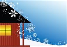 Chalet con los copos de nieve stock de ilustración