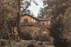 Chalet of the Countess of Edla. Decorated with cork in the Gardens of Palacio de Pena stock images