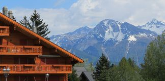 Chalet in Crans Montana by summer, Switzerland Royalty Free Stock Image