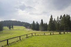 Chalet in de bergen Stock Foto