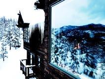 Chalet de Tahoe dans la neige Photo stock