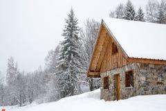 Chalet in de winter royalty-vrije stock fotografie