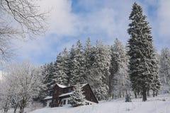 Chalet in de winter, Bohemen stock fotografie