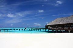 Chalet del agua en maldives Imagenes de archivo