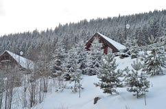 Chalet del esquí del invierno, paisaje nevoso, fondo del invierno con el espacio de la copia Foto de archivo libre de regalías