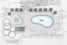 Chalet del lujo de Designs Pool For del arquitecto paisajista imagen de archivo libre de regalías