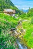 Chalet della montagna delle alpi in Italia Immagini Stock